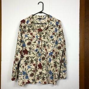 Zara Basics floral print long sleeve blouse Sz M